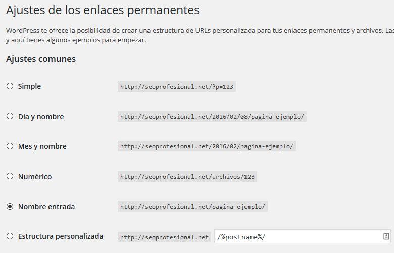 primer paso Modificar enlaces permanetes de WP