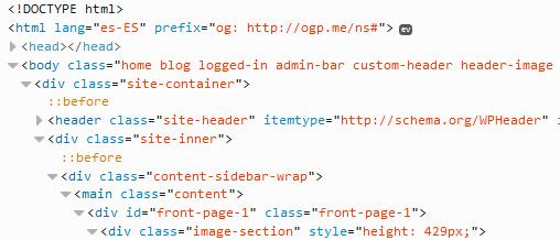 codigo html de una web