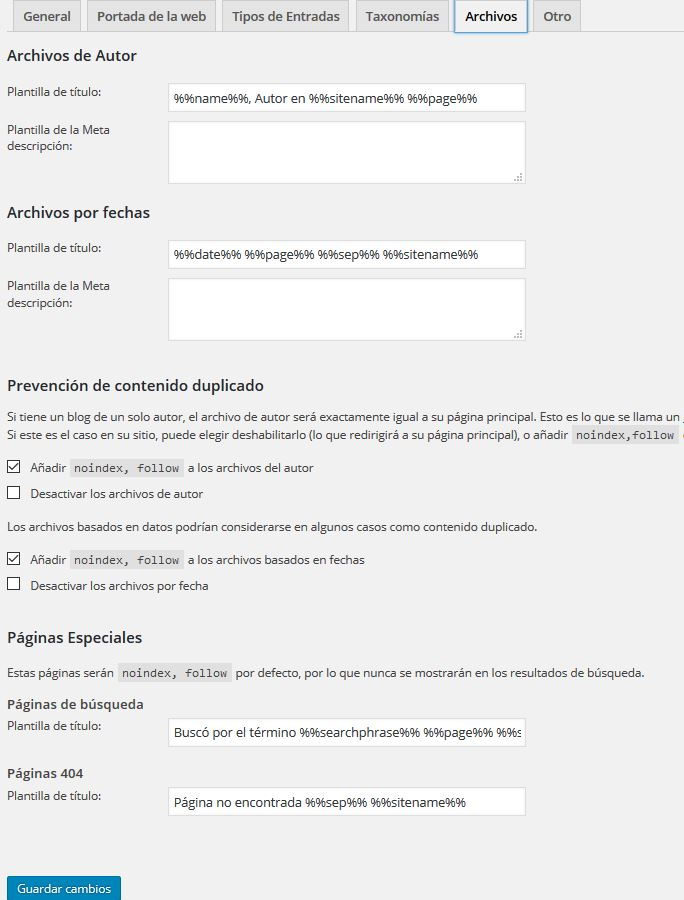 configuración archivos plugin Yoast Seo