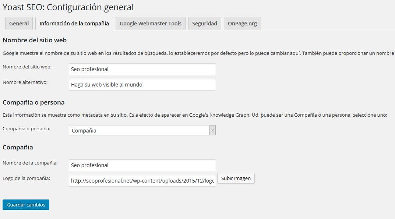 configuración de la informacion de la compañia