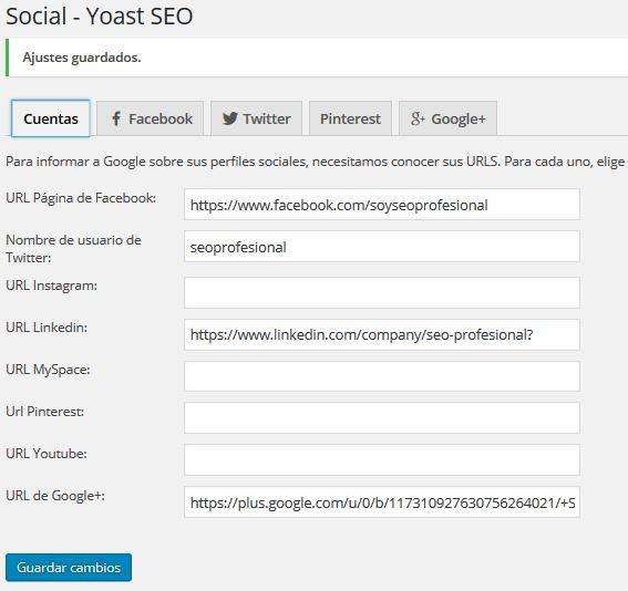 Pestaña Social de plugins Yoast seo
