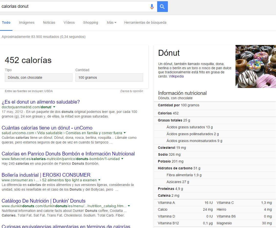 calorias donut desde Google