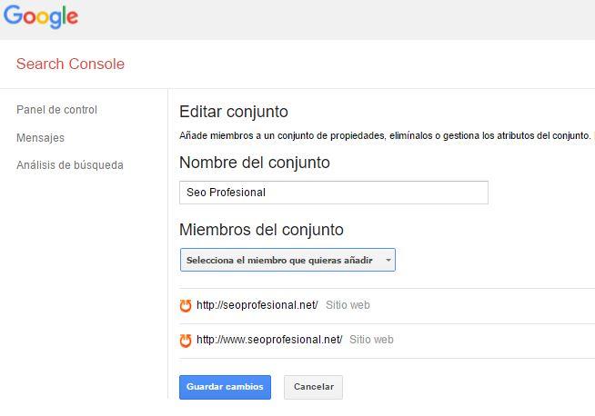 Conjunto de propiedades Search Console