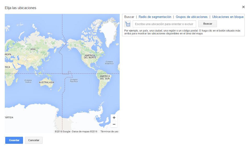 precisión a la hora de escoger la zona geografica