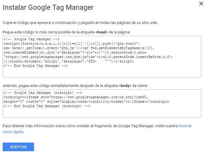 Codigo de Seguimiento tag manager