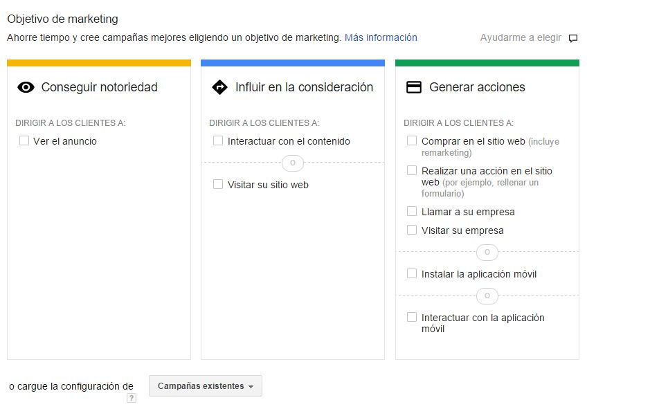 intereses de marketing Display adwords