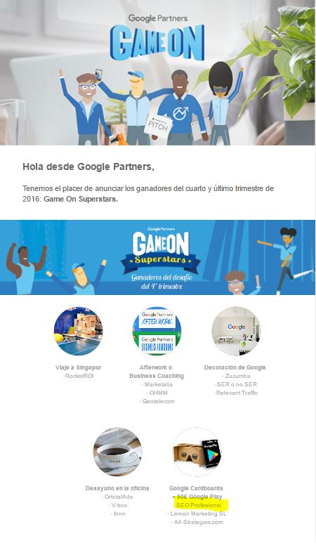 Ganador gameon superstar de google partnes